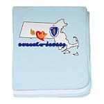 ILY Massachusetts baby blanket