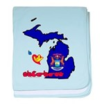 ILY Michigan baby blanket