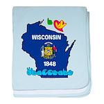 ILY Wisconsin baby blanket