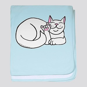 White ASL Kitty Infant Blanket