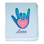 Blue Glass Love Hand Infant Blanket