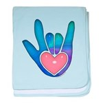 Blue/Pink Glass ILY Hand Infant Blanket