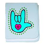 Aqua Bold Love Hand Infant Blanket