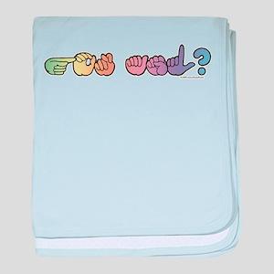 Got ASL? Pastel baby blanket