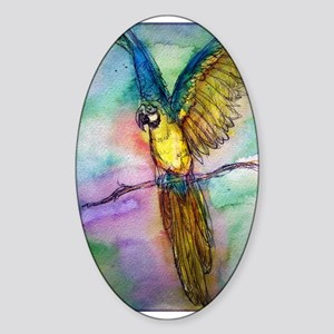 Parrot, Colorful, Blue Macaw, Sticker (Oval)