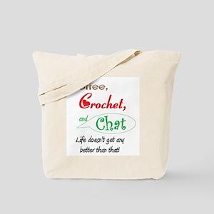 Coffee, Crochet & Chat Tote Bag