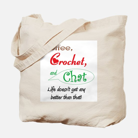 Coffee, Crochet & Chat Tote Bag