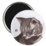 Gray Tabby Round Magnet Magnets