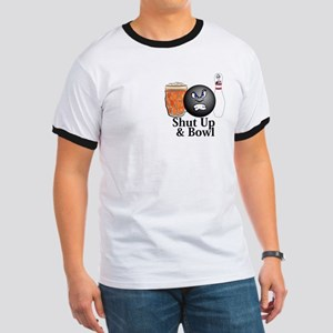 Shut Up And Bowl Logo 10 Ringer T Design Front Poc