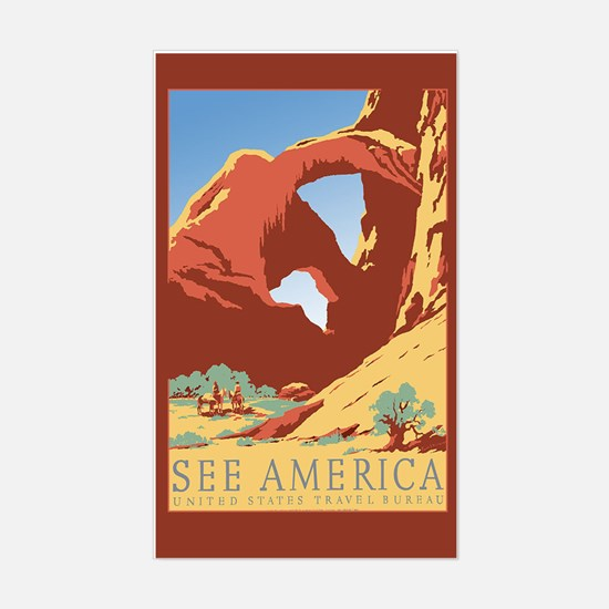 See America Travel Luggage Sticker (Rectangle)