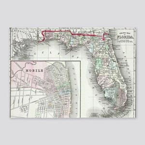 Vintage Map of Florida and Mobile A 5'x7'Area Rug