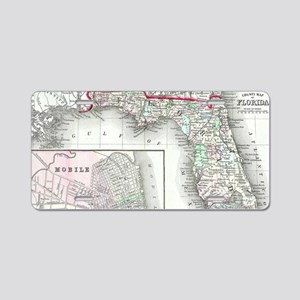 Vintage Map of Florida and Aluminum License Plate