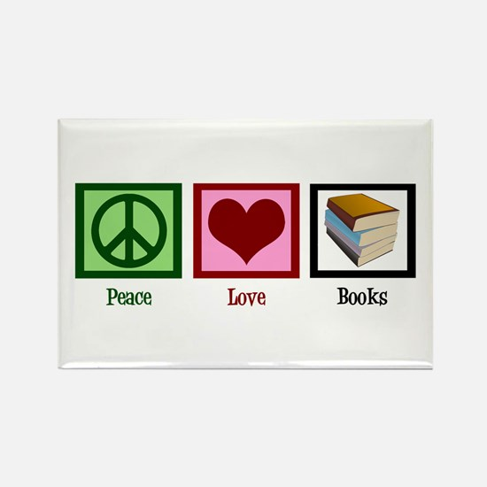Peace Love Books Rectangle Magnet