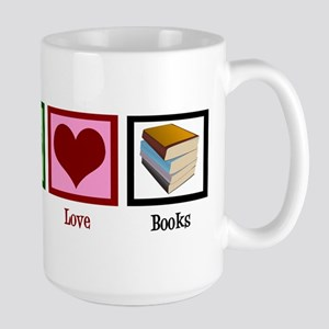 Peace Love Books Large Mug