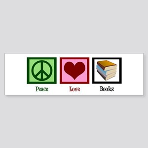 Peace Love Books Sticker (Bumper)