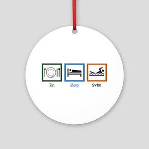 Eat Sleep Swim Ornament (Round)