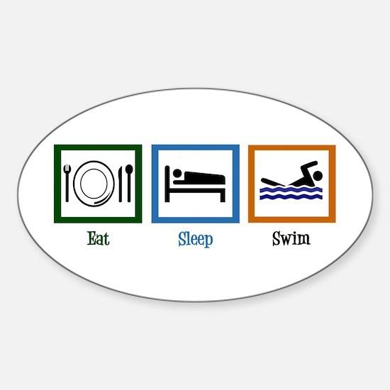 Eat Sleep Swim Sticker (Oval)