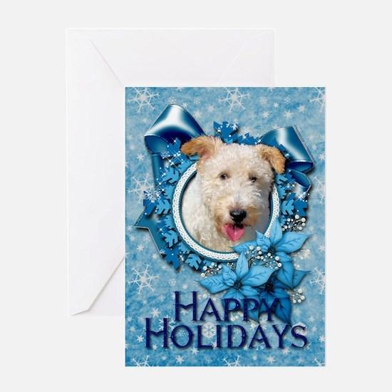 Christmas - Blue Snowflakes Greeting Card