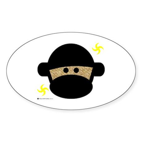 Sock Monkey Ninja Sticker (Oval)