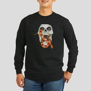 Scary Snake Skull Long Sleeve Dark T-Shirt