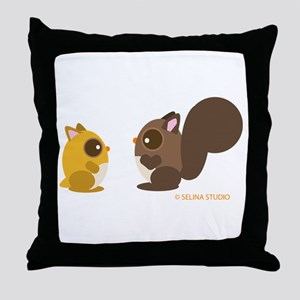 """Hamster + Squirrel"" Throw Pillow"