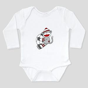 Sock Monkey Soccer Long Sleeve Infant Bodysuit