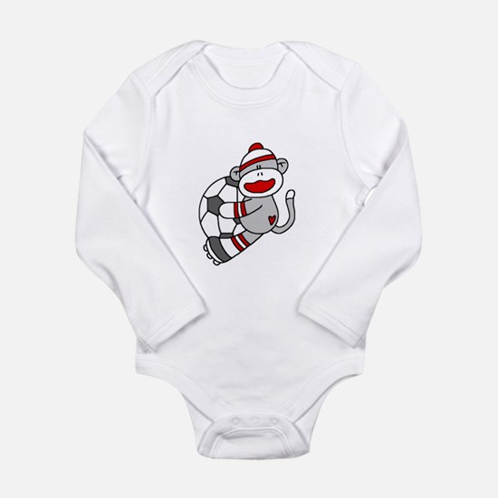 Sock Monkey Soccer Long Sleeve Infant Bodysuit
