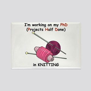 Knitting PhD (projects half d Rectangle Magnet