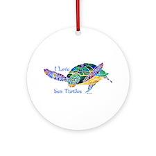 I Love Sea Turtles 2 Ornament (Round)