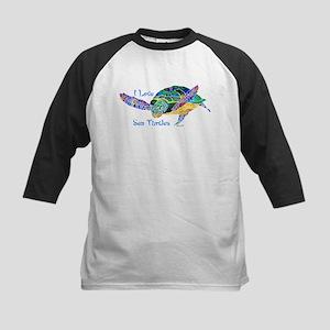 I Love Sea Turtles 2 Kids Baseball Jersey