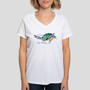 I Love Sea Turtles 2 Women's V-Neck T-Shirt