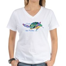 I Love Sea Turtles 2 Women's V-Neck T-Shirt