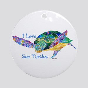 Beautiful Graceful Sea Turtle Ornament (Round)