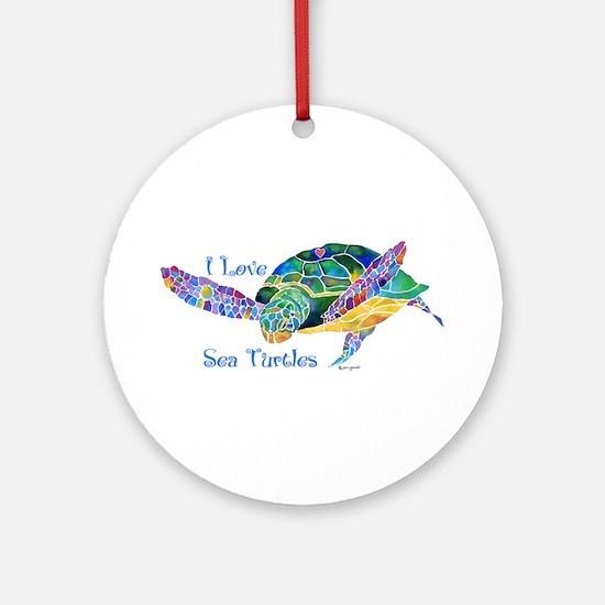 Beautiful Graceful Sea Turtle Ornament (Round)