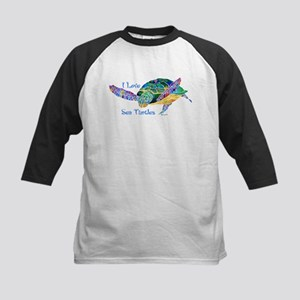 Beautiful Graceful Sea Turtle Kids Baseball Jersey