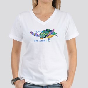 Beautiful Graceful Sea Turtle Women's V-Neck T-Shi