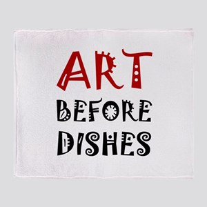 Art Before Dishes Throw Blanket