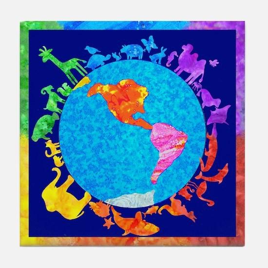 Peaceful Animal Kingdom Tile Coaster