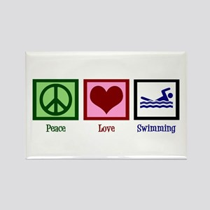Peace Love Swimming Rectangle Magnet