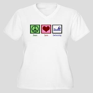 Peace Love Swimming Women's Plus Size V-Neck T-Shi