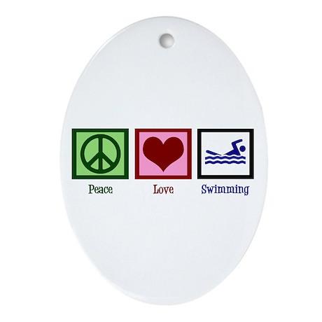 Peace Love Swimming Ornament (Oval)
