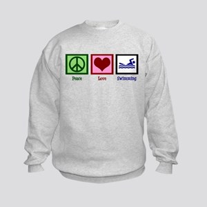 Peace Love Swimming Kids Sweatshirt