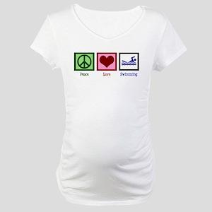 Peace Love Swimming Maternity T-Shirt