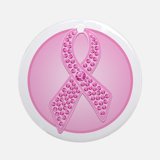 Pink Ribbon Jewels Ornament (Round)