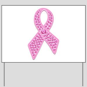 Pink Ribbon Jewels Yard Sign