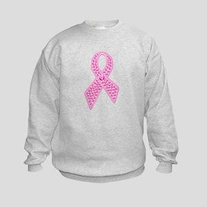 Pink Ribbon Jewels Kids Sweatshirt