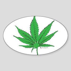 Weed Leaf Sticker (Oval)