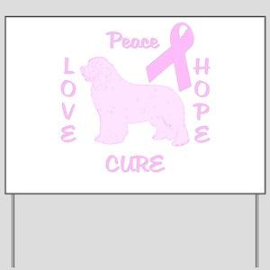 Peace, Love, Hope, Cure Breas Yard Sign