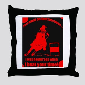 haulin ass barrel racer Throw Pillow