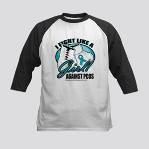 PCOS I Fight Like A Girl Kids Baseball Jersey